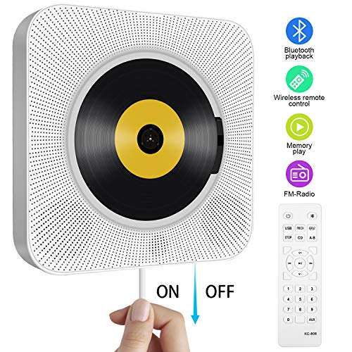 Portable CD Player, Tenswall Wall Mountable Bluetooth Built-in HiFi...
