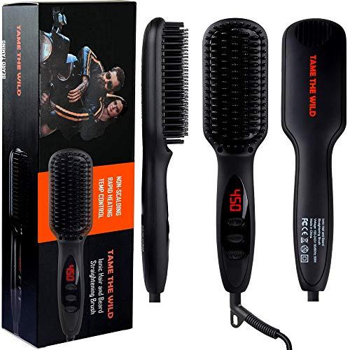 Tame's Beard Straightener for Men - Anti-Scald Beard Straightening Comb - Ceramic Heated Beard Brush - 12 Temp Settings - Built in Ionic Generator - LED Display - Best for Beards Over 2' Long