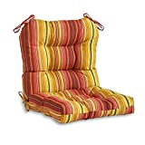 Greendale Home Fashions AZ4808-KINNIBARI Cinnamon Stripe 38'' x 21'' Outdoor Seat/Back Chair Cushion