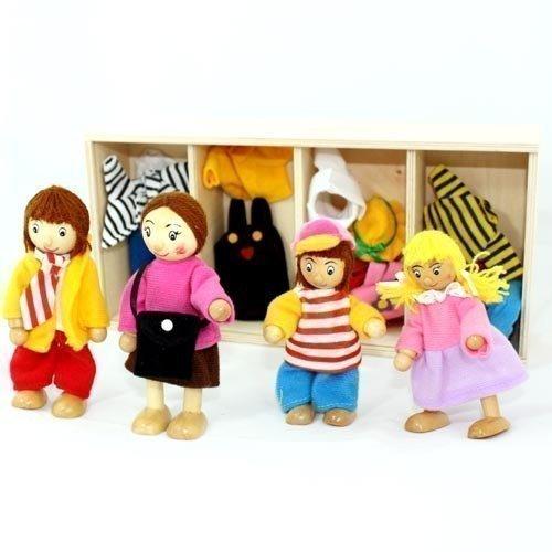 Freda rosé Puppenfamilie Holzbiegepuppen mit Wechselkleider 4 Puppen