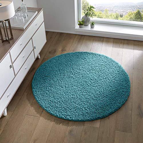 Taracarpet Shaggy Teppich Wohnzimmer Schlafzimmer Kinderzimmer Hochflor Langflor Teppiche modern türkis 120x120 cm rund