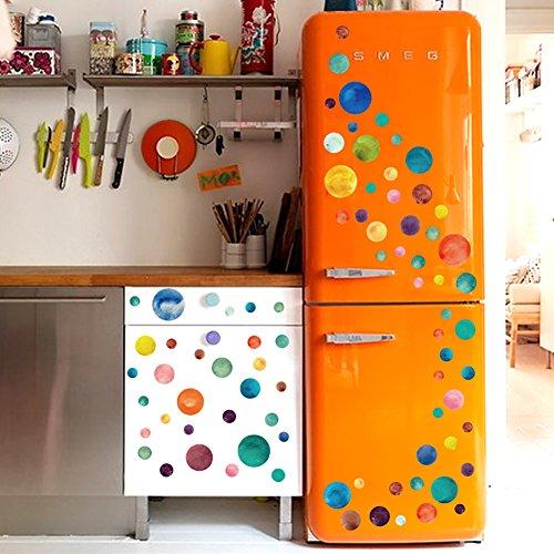 Muurstickers 4U - Muurtattoo Set kleurrijke zon maan sterren punten cirkels om te plakken Muursticker Wall Deco voor kinderkamer babykamer woonkamer slaapkamer kast meubels woonaccessoires