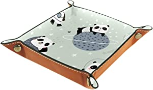 Sleeping Pandas On Moons and Starry Sky Valet Tray Storage Organizer Box Coin Tray Key Tray Nightstand Desk Microfiber Leather Pouch,16x16cm