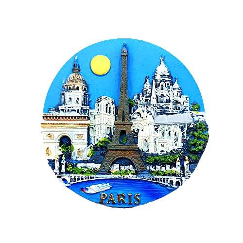 Time Traveler Go Paris France Tour Eiffel Arc de triomphe Notre Dame 3D Résine Aimant Réfrigérateur Souvenir Collection Cadeau Décoration Maison et Cuisine Aimant Aimant Réfrigérateur