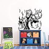 Pegatinas de pared de vinilo de dibujos animados japoneses Naruto Hokage Ninja anime boy arte mural tatuajes de pared decoración de la habitación de los niños decoración del hogar 64 * 57 cm