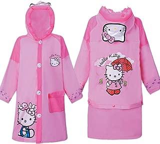 Hello Kitty Baby Children Cartoon Kids Girls Rainwear Long Raincoat Rainsuit Poncho- Toddler