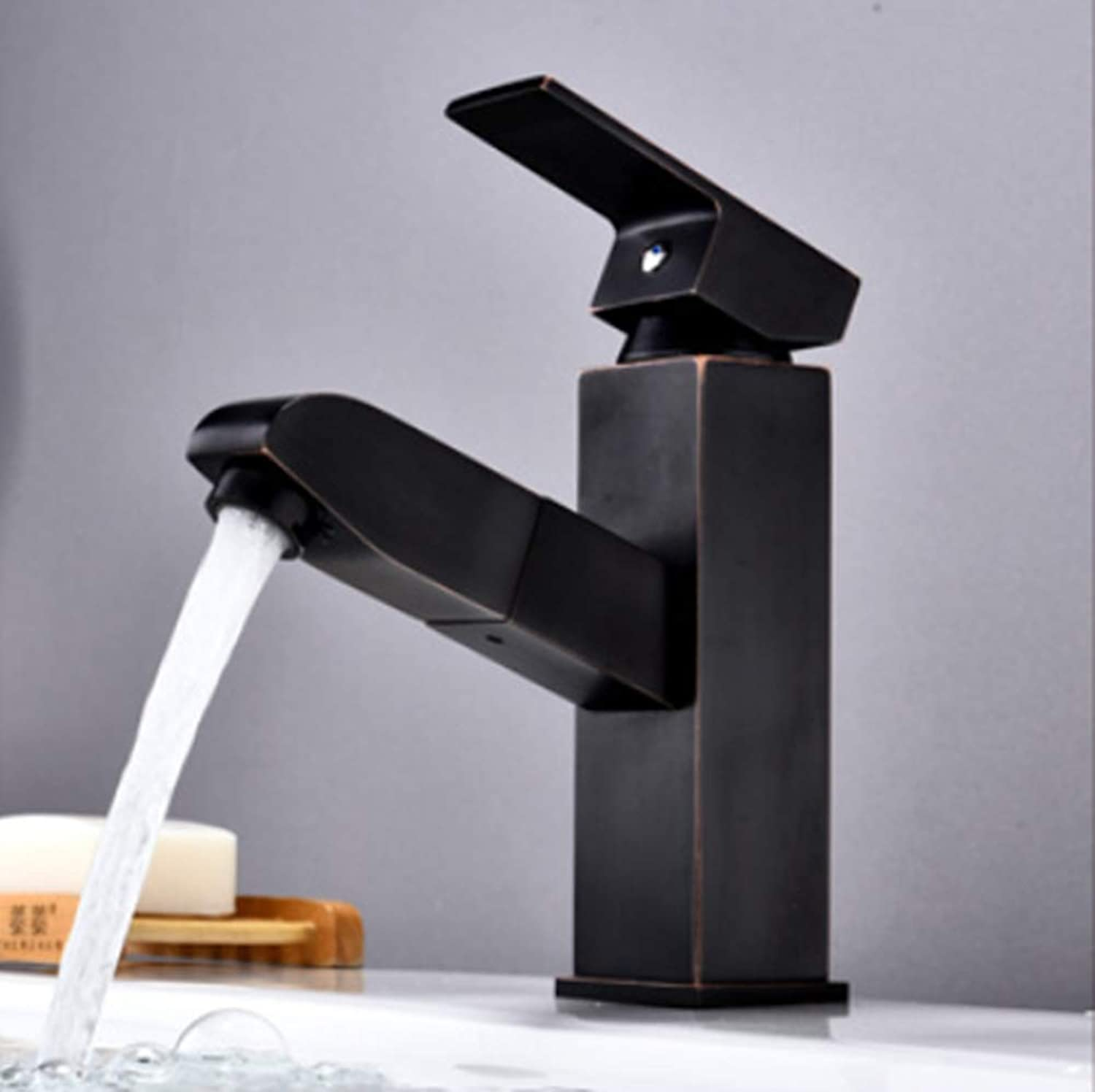 Retro Minimalism Bathroom Faucet Pull Out Sink Faucet Brass Single Lever Hot And Cold Water Mixing Chrome Black