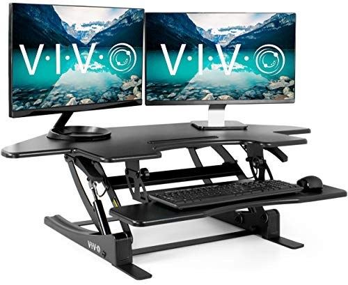 VIVO Black Corner Height Adjustable 43 inch Cubicle Standing Desk Converter | Quick Sit to Stand Tabletop Dual Monitor Riser (DESK-V000VC)