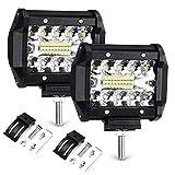 Haofy 2pcs Focos LED Tractor, 4' 70W 72000LM Faros Trabajo LED, Focos de Coche Potente 6000K IP68 Impermeable Luz de Niebla para Coche, SUV, UTV, ATV, Off-road, Camión, Moto, Barco