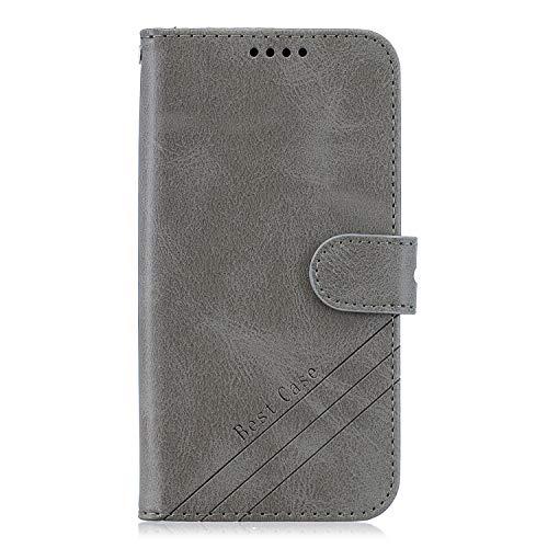 ZIHX010926 - Funda de piel sintética tipo cartera para Moto E6Plus / E6S (con tarjetero), color gris