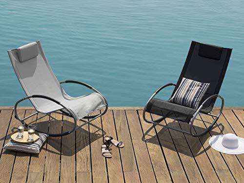 Beliani - Chaise de Jardin à Bascule - Campo - en Textile et Acier, Gris et Argenté