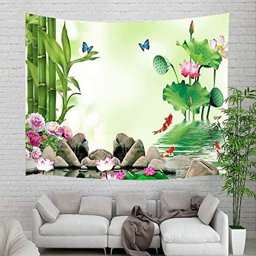 Tapiz Art Paño para colgar en la pared Impresión HD Cocina Dormitorio Sala de estar Decoración,Bambú con paneles de piedra de spa Pez koi natural en flores de loto asiáticas para arte zen para d