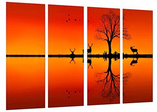 Fotofoto natuur zee silhouet dieren hert vogels boom oranje totale grootte: 131 x 62 cm XXL