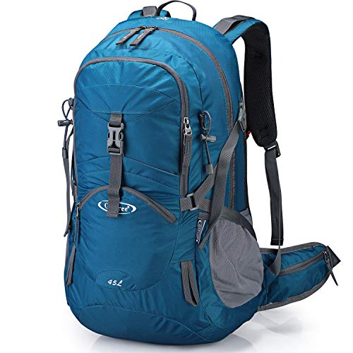G4Free Blue Women Hiking Backpack Waterproof Backpacking Backpacks with Rain Cover for Outdoor Camping Mountaineering Trekking Travel (Grey Blue)