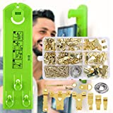 Picture Hanging Kit Picture Frame Hanger Tool with Level Ruler and Position Nail Picture Frame Ruler for...