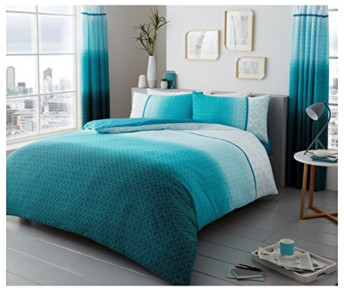 Gaveno Cavailia Bed Set with Duvet Cover and Pillow, Polyester-Cotton, Urban-Ombre-Teal, Single