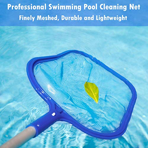Swimming Pool Skimmer Net with Pole, Professional Pool Net Skimmer, Swimming Pool Cleaner Supplies Skimmer Leaf screen with 5 Sections Pole 10 - 50 Inches, Clean Spas, Ponds