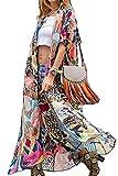 AiJump Vestido de Playa Floral Kimono para Bañador Pareos Camisa Larga de...