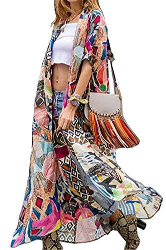 AiJump Vestido de Playa Floral Kimono para Bañador Pareos Camisa Larga de Verano Cover Ups para Mujer