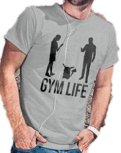 Gimnasio Life–Pokemon–Camiseta go por lerage camisas de hombre - Gris -