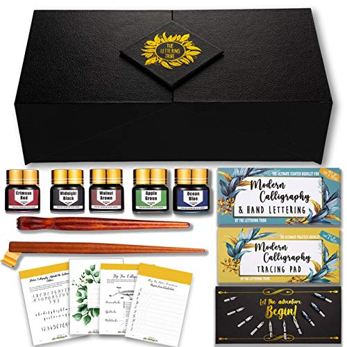 The Lettering Tribe Calligraphy Set For Beginners | Oblique Pen Holder + Wooden Calligraphy Pen + 10 Nibs + 5 Inks + 2 Booklets | Caligraphy kits for beginners