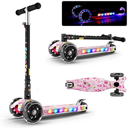 JXILY Kick Scooter para niños, Plegables, Flash de Cuatro Ruedas, con luz y música, Amortiguador PU neumático, evasión de colisiones Scooters de Patada