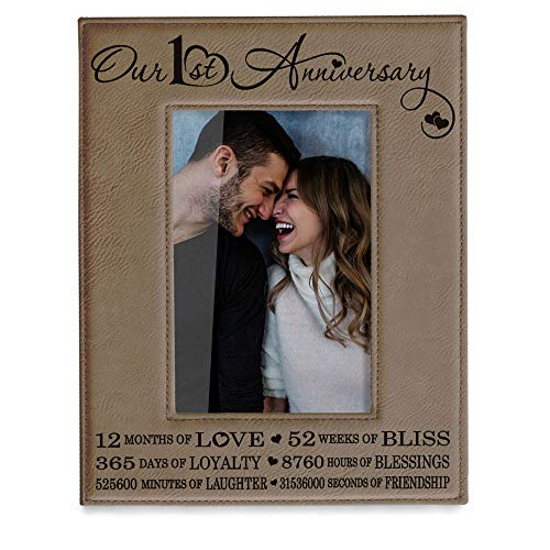 KATE POSH Our First (1st) Anniversary Engraved Leather Picture Frame - Gifts for Couple, Gifts for Him, Gift for Her, Paper, Picture Frame, First Wedding (4x6-Vertical)