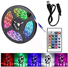 Gluckluz LED Light Strip 2m USB Decoration Lighting RGB Waterproof Lamp with Remote Control for Bedroom Car Kids Indoor Outdoor Party (Color Changing)