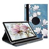 kwmobile Carcasa Compatible con Huawei MediaPad T5 10 - Funda de Cuero sintético para Tablet Magnolias marrón Topo/Blanco/Gris Azulado