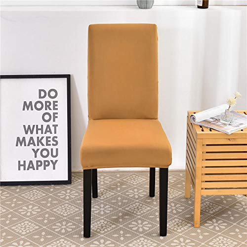 Chair Covers Brownish Yellow Dining Chair Covers Spandex Stretch Removable Washable Modern Dining Room Chair Covers,Seat Covers with Elastic Band for Wedding Dining Room Decoration4 Pcs