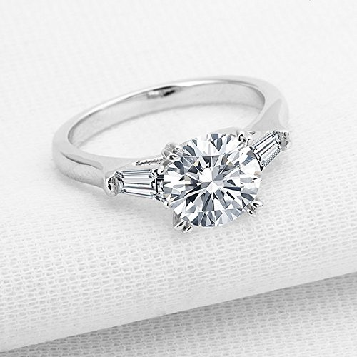 espere Sterling Silver 2 Carat CZ Baguette Round Solitaire Engagement Ring Bridal Wedding Jewelry