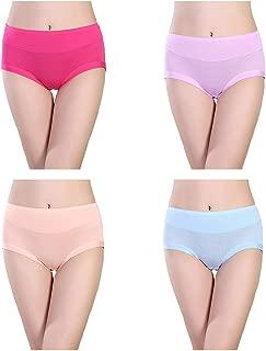 ARONAS Women's Bamboo Fiber Underwear Panties 4 Pack Elastic Plus Size Breathable Bikini Briefs