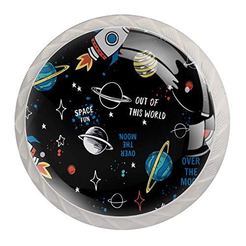 Schubladengriffe ziehen für Home Kitchen Dresser Wardrobe-Cartoon Space Rockets Planeten