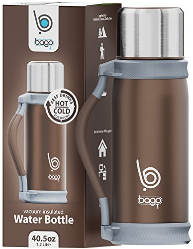bago Insulated Water Bottle - Keep Drinks Hot/Cold for Hours. Best for Travel, Sport, Camping, Runners and Personal Use - 1.2 Liter Stainless Steel Vacuum w/Cup and Carrier