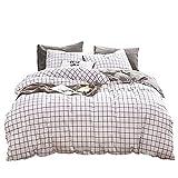 Aryurbu - Biancheria da letto in cotone, 200 x 200 cm, con 2 federe da 80 x 80 cm, a quadretti, colore: nero e bianco, comodo piumino a quadri, da uomo e da donna
