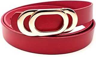 MYCHOMEU New First Layer Leather Smooth Buckle Belt Ladies Leather Vegetable Tanned Leather Buckle Belt (Color : Red, Size : 110cm)