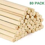GoMaihe 80 Stück Holzstäbchen zum Basteln, Duftstäbchen Rattanstäbchen für Raumduft, Holzstab Rund Bambusstäbe, Holzstäbe 30cm, Rundholz 50 mm Bastelholz Holzstiel für Heimwerker, MEHRWEG