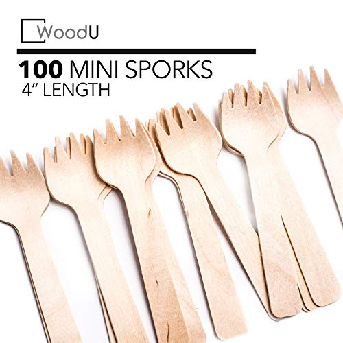 """WoodU Wooden Disposable Mini Sporks 4"""" Biodegradable Compostable Eco Friendly (100 Pack) Perfect for Dessert, Appetizers, Cocktails"""