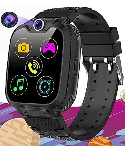 Vannico Montre Intelligente Enfants 16 Jeu Musique MP3 HD Appel Bidirectionnel SOS Smart Phone Fille Garçon Montre Enfants,Téléphone Enfant LCD Écran Tactile Montre 1 Go SD Card