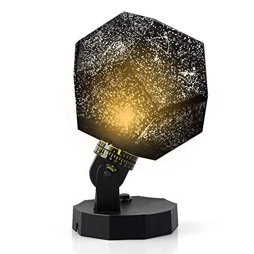 Proyector de luz nocturna para bebé, lámpara de constelación, 3 colores universos galaxia giratoria luz de humor relajante (negro)