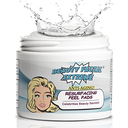 Anti Aging Resurfacing Exfoliating Peel Pads- Contains Lactic, Salicylic, & Glycolic Acid for Face & Body. Repairs Fine Lines, Wrinkles, Dark Spots, Pores, Scars & Uneven Skin Tone.