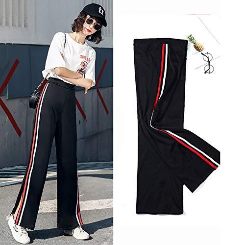 YSDSBM Pantalones Mujer Verano Moda Harajuku Sólido Suave Pantalones Sueltos para Mujer Elegante Casual Raya Lateral
