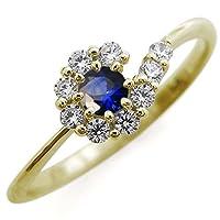 [プレジュール]サファイア ブライダル リング 取り巻き 指輪 結婚10周年 K10イエローゴールド リングサイズ10号