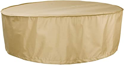 """HENTEX Outdoor Round Hot Tub Cover, Round Patio Furniture Cover Table and Chair Set Cover,94""""Dia×27""""H, Khaki"""