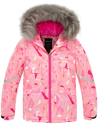 Wantdo Girl's Waterproof Snow Jacket Winter Warm Winter Coat with Attached Hood Pink 8