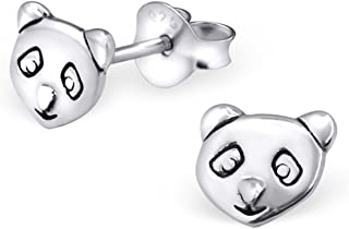 Tiny Cute Panda Bear Silver Studs Earrings Girls 925 Stering Silver (E20827)