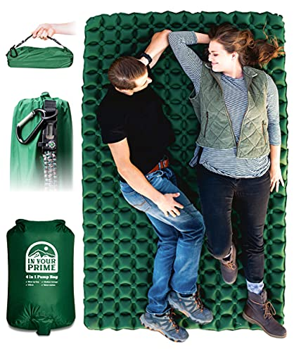In Your Prime Double Sleeping Pad | (35.6 OZ) Inflatable Backpacking Bed | Ultralight Portable Camping, car, Tent, Truck Mattress | 2 Person mat | Includes Paracord Bracelet, Pump Sack, Carabiner