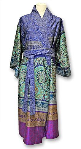 Bassetti Kimono Recanati B1 - Kimono para Mujer, 100% algodón, Azul, S-M