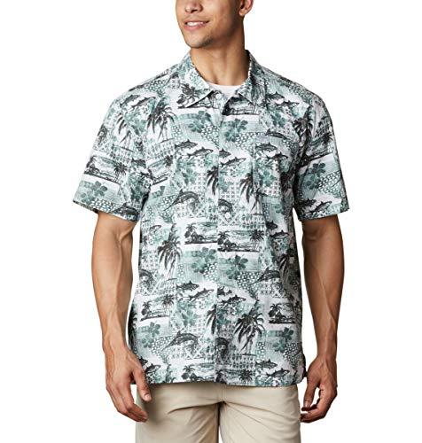 Columbia Camiseta de Manga Corta para Hombre Troller Mejor Camiseta de Manga Corta, Hombre, Camiseta de Manga Corta Trollers Best, 1438985, Estanque de impresión Polinesia, 2X (Alto)