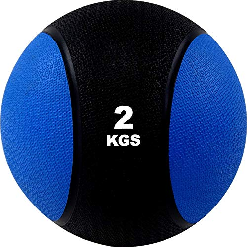 BodyRip 2kg Rubber Med Ball | Heavy Duty, Durable | Functional Strength Training, Home Gym, Fitness Exercise, Weight Lifting, Fat Loss, Ripped, Calisthenics, Workout, Cardio, MMA
